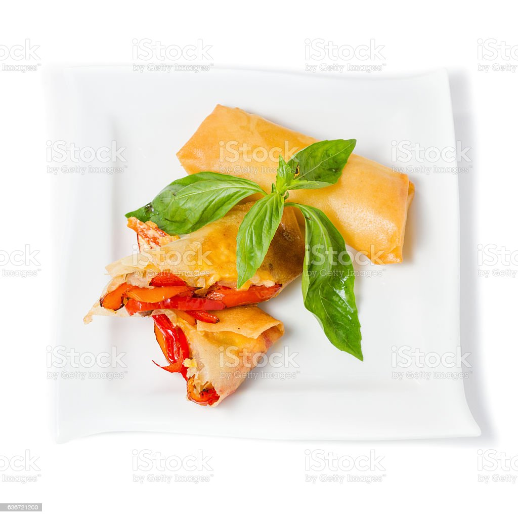 Vegetable Spring Rolls, on white dish top view stock photo