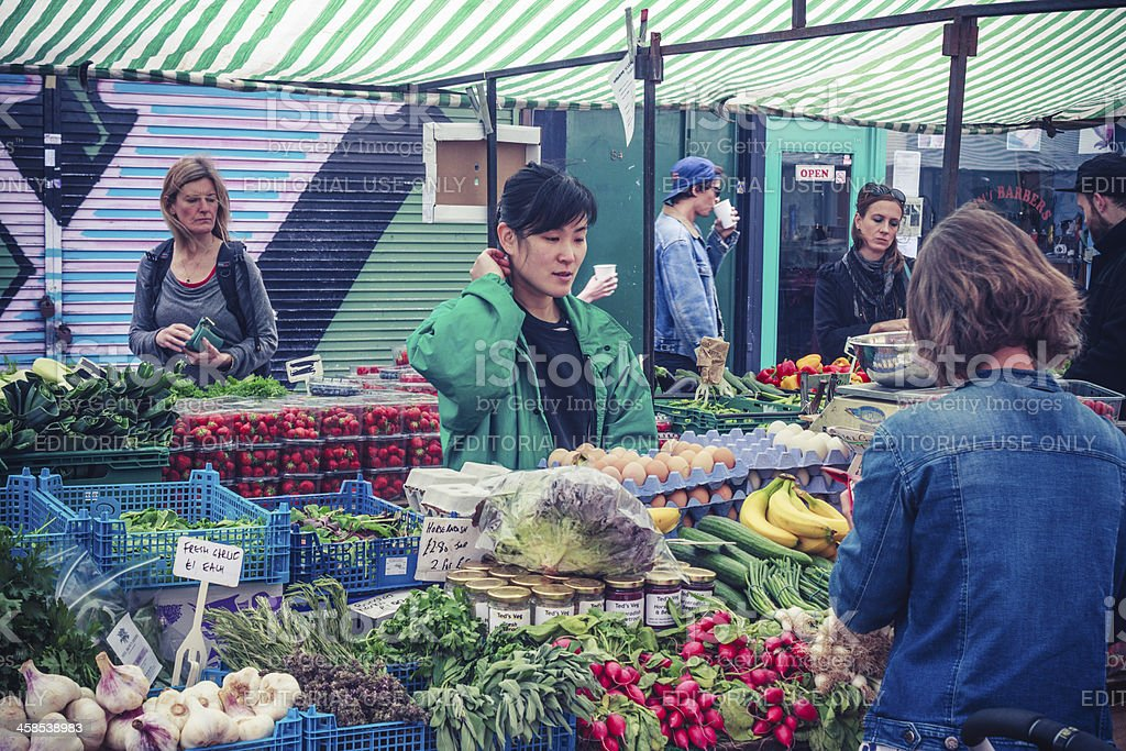 Vegetable stall, Broadway Market, London royalty-free stock photo