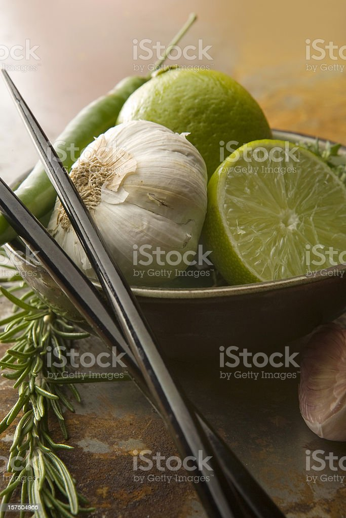 Vegetable Stills: Lime and Garlic royalty-free stock photo