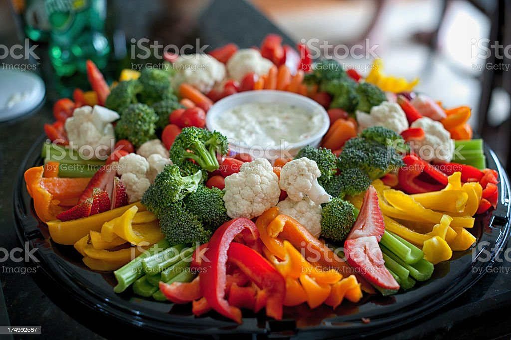 A vegetable tray with broccoli, cauliflower and pepper  stock photo