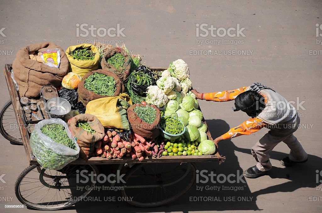 Vegetable vendor with his cart in street, Jodhpur, Rajasthan, India stock photo