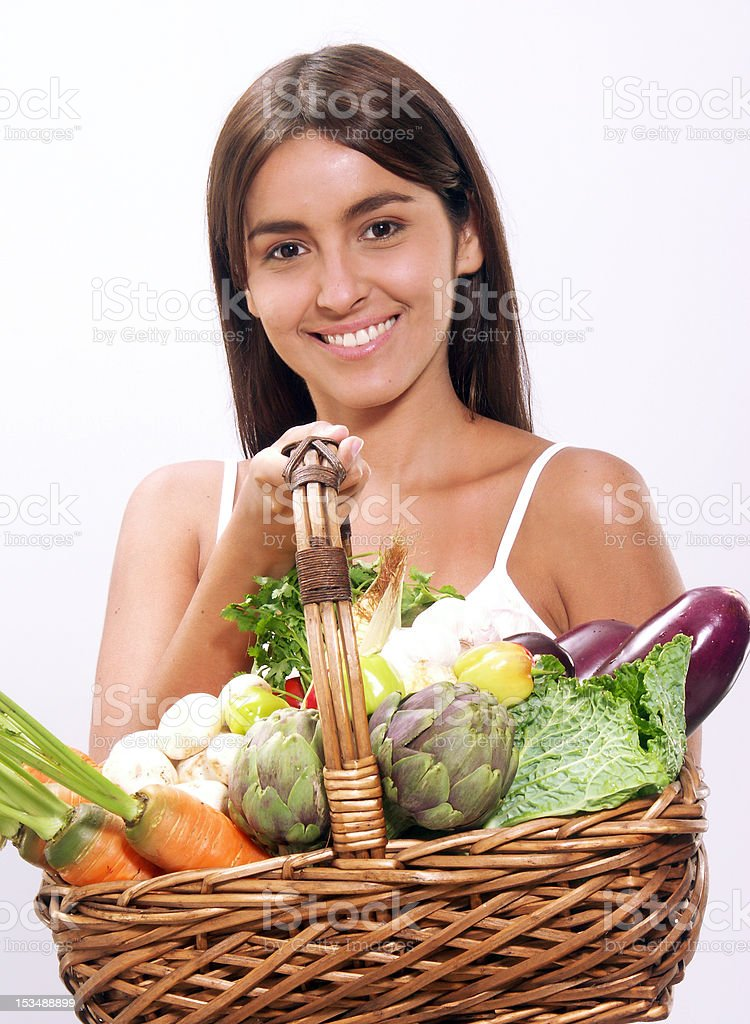 Vegetable woman. royalty-free stock photo