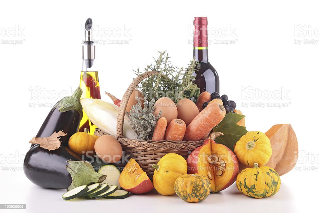 vegetable,fruit,olive oil and wine royalty-free stock photo