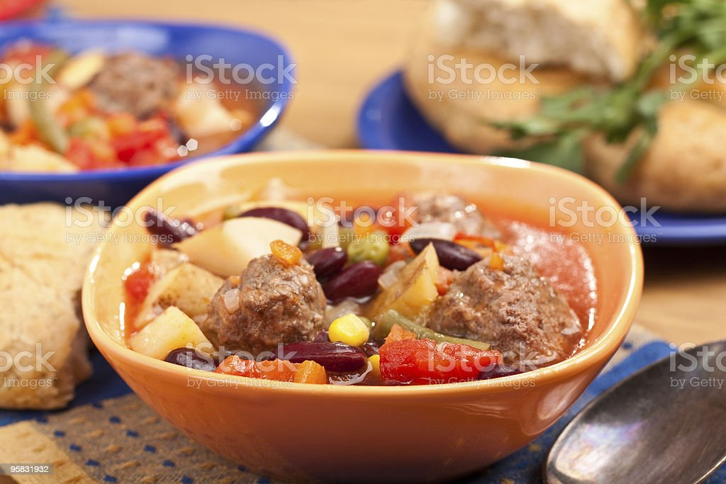 vegetables and beans soup with meatballs royalty-free stock photo