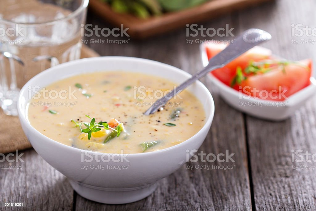 Vegetables and corn chowder stock photo
