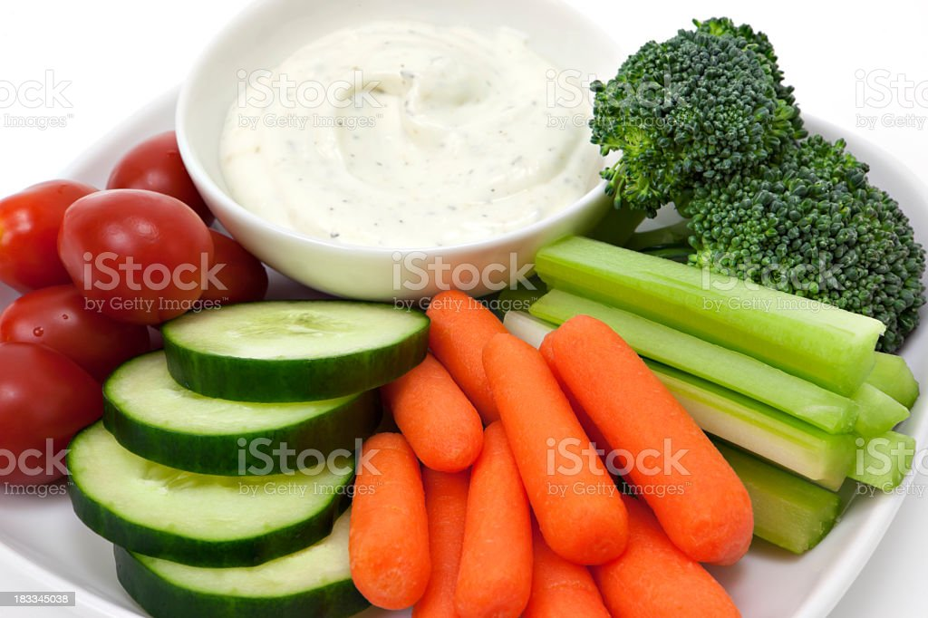 Vegetables and dip snack stock photo
