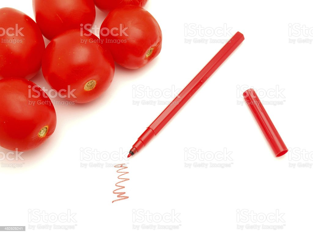 Vegetables and felt-tip pens stock photo