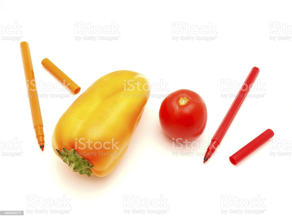 Vegetables and felt-tip pens royalty-free stock photo