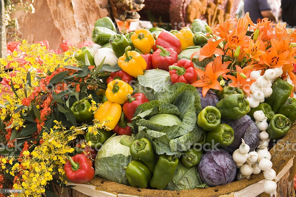 Vegetables and flowers stock photo