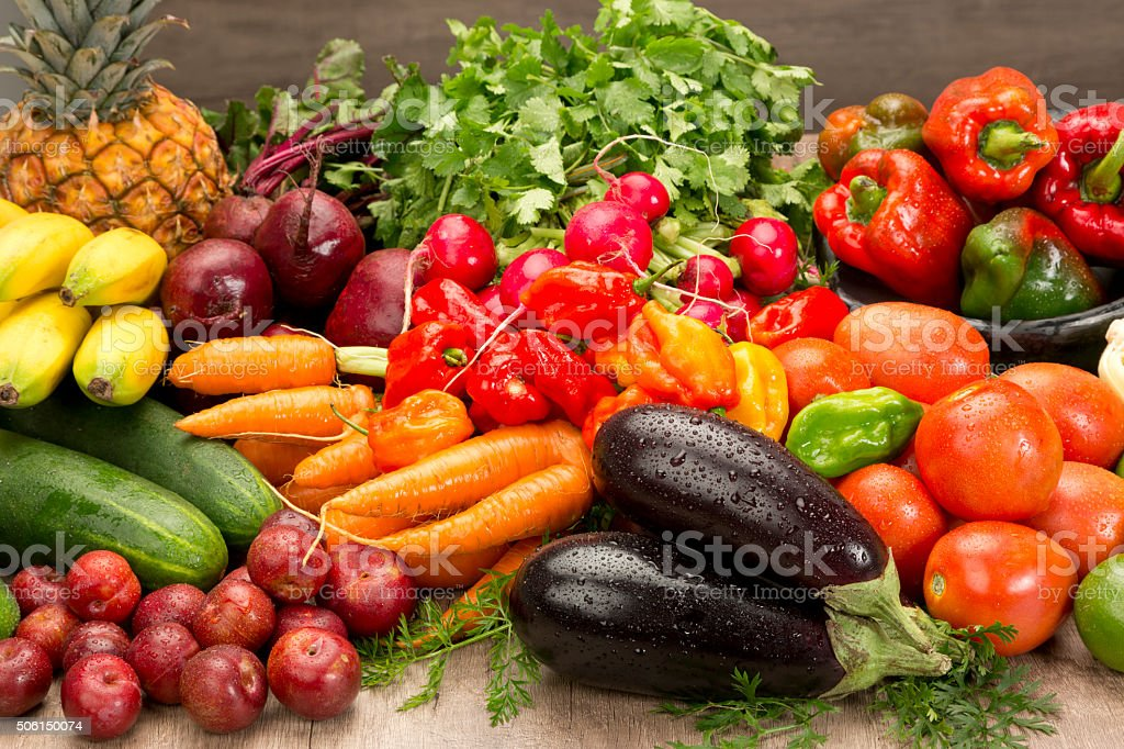 Vegetables and fruits composition stock photo