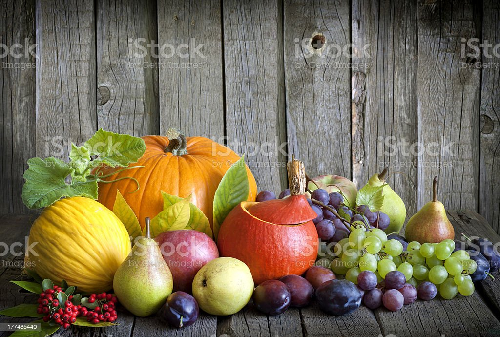Vegetables and fruits in autumn season still life royalty-free stock photo