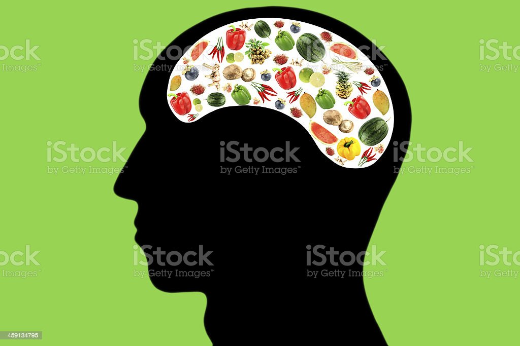 Vegetables and fruits in Head on green Background. stock photo