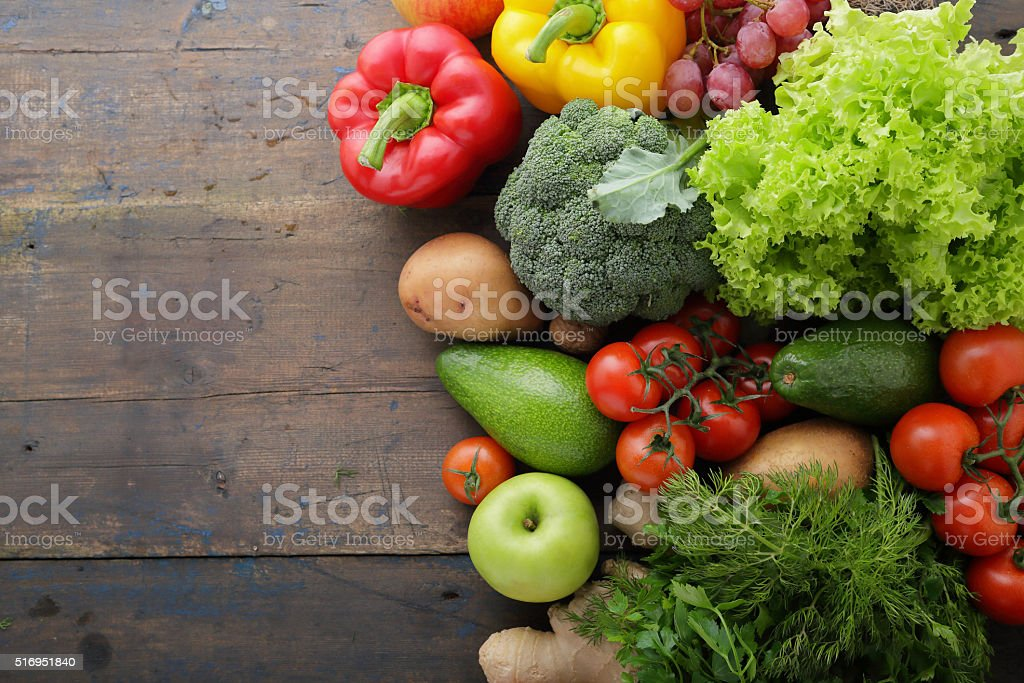 vegetables and fruits on boards with space for text stock photo