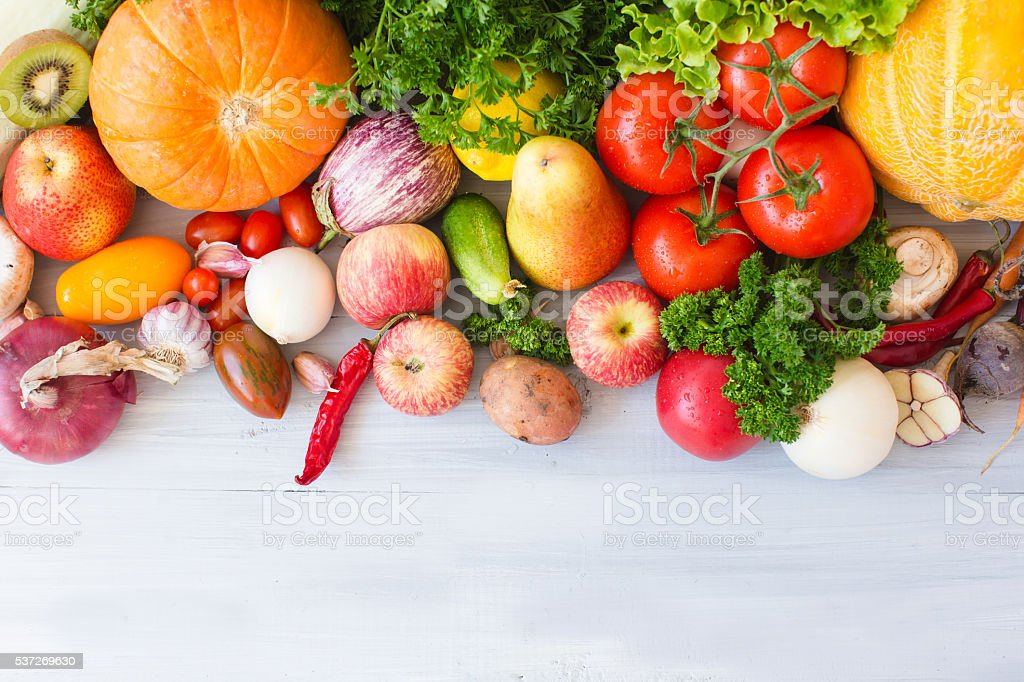 FARM FRESH vegetables and fruits. stock photo