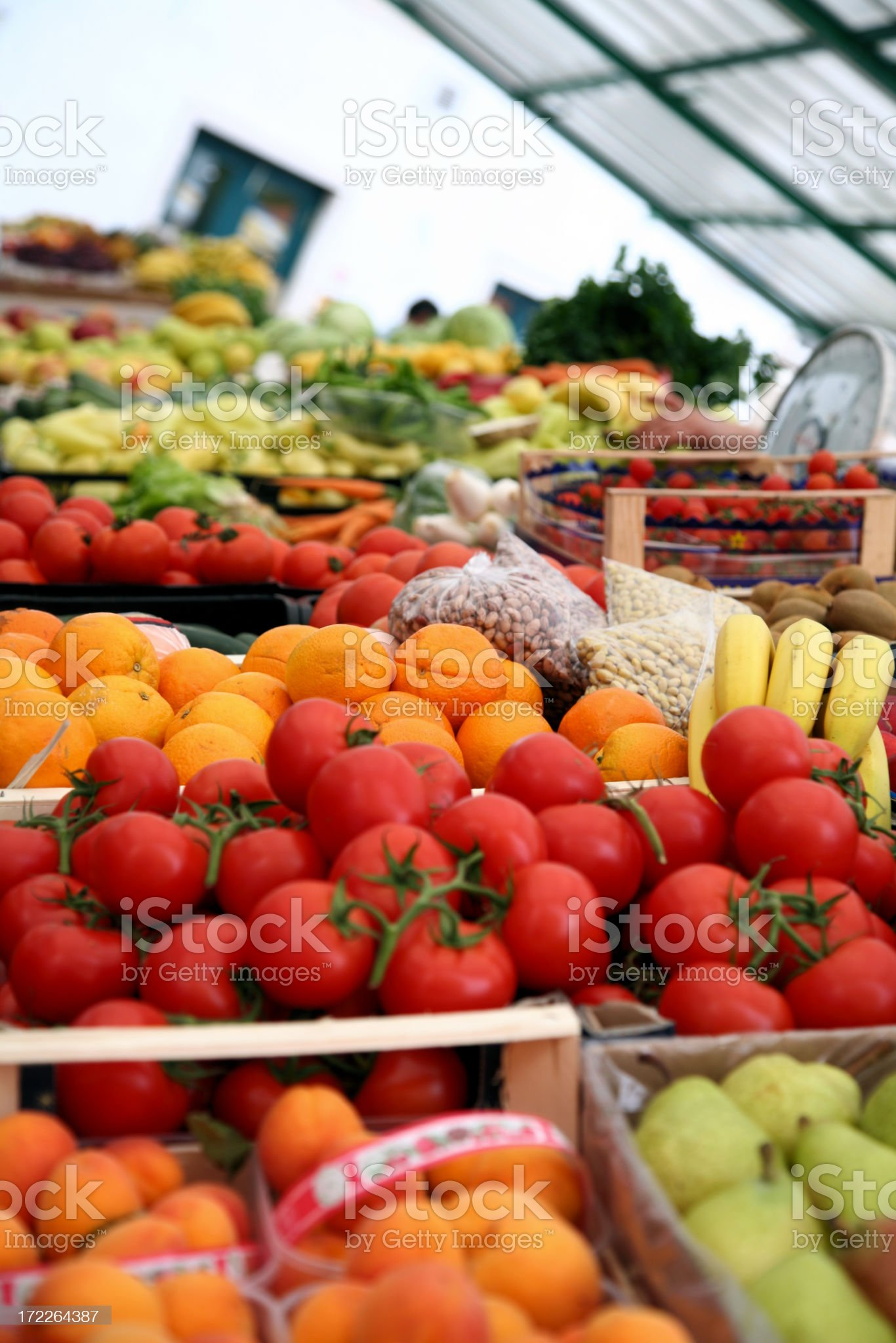 Vegetables and fruits stall royalty-free stock photo