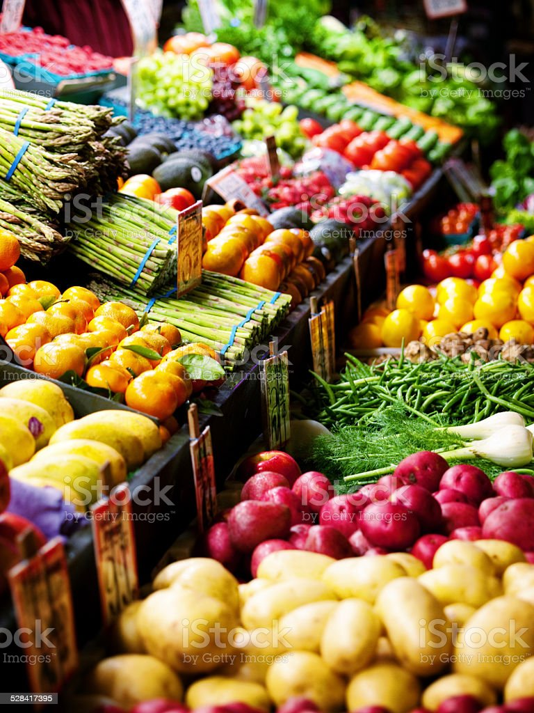 Vegetables and fruits stand stock photo