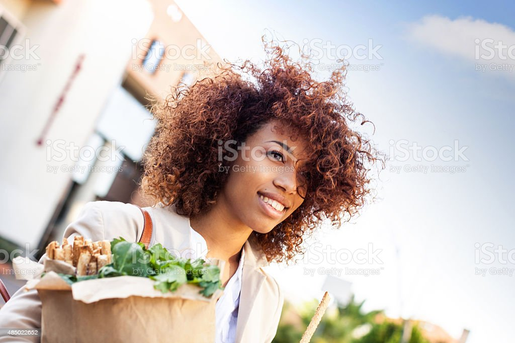 Vegetables and healthy products shopping in the morning stock photo