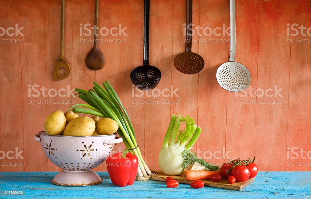 vegetables and kitchen utensils stock photo