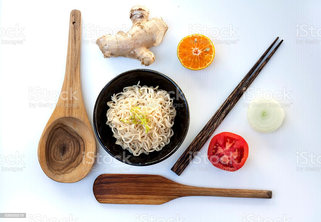 Vegetables and noodle food set royalty-free stock photo
