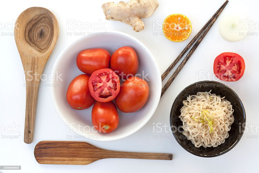 Vegetables and noodle food set with kitchen equipments royalty-free stock photo