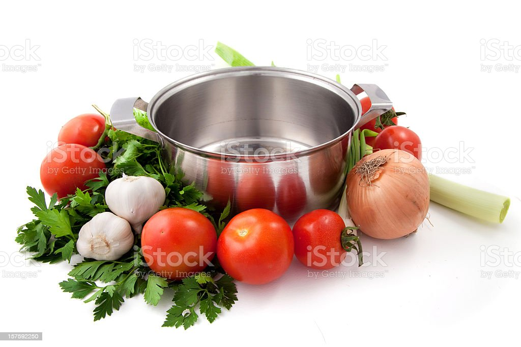 Vegetables and pot royalty-free stock photo