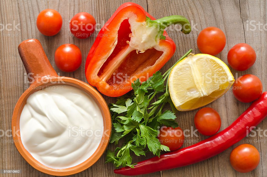 Vegetables and sour cream for cooking stock photo