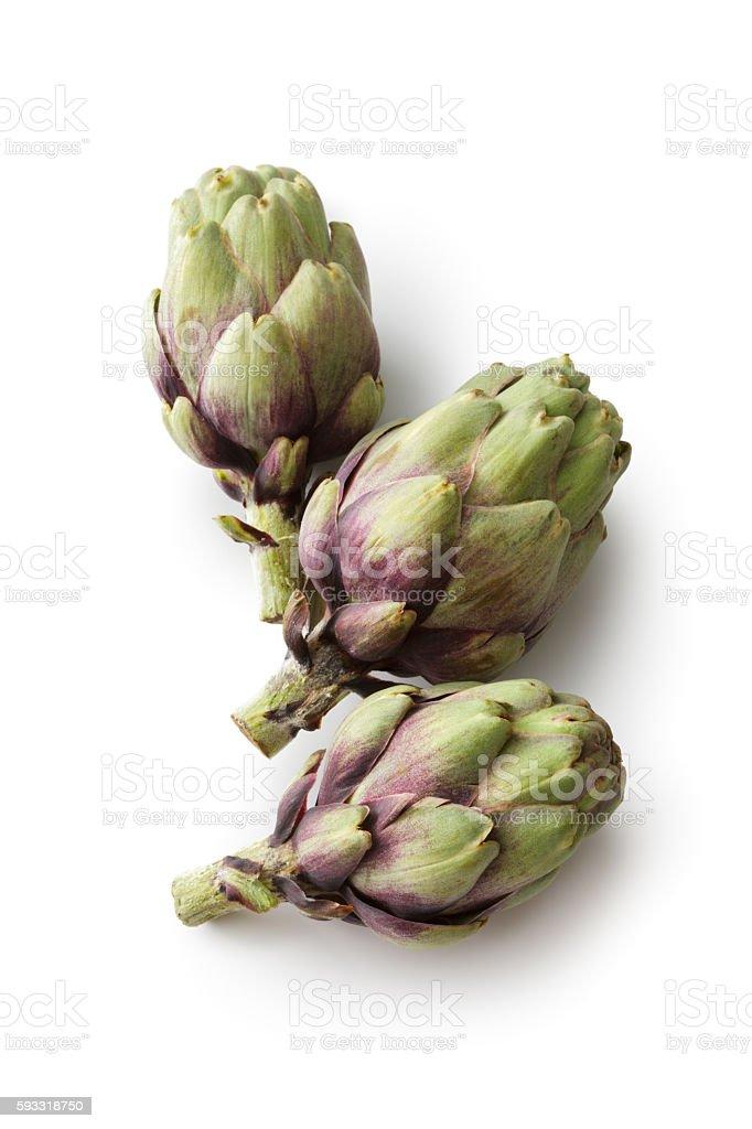 Vegetables: Artichoke Isolated on White Background stock photo