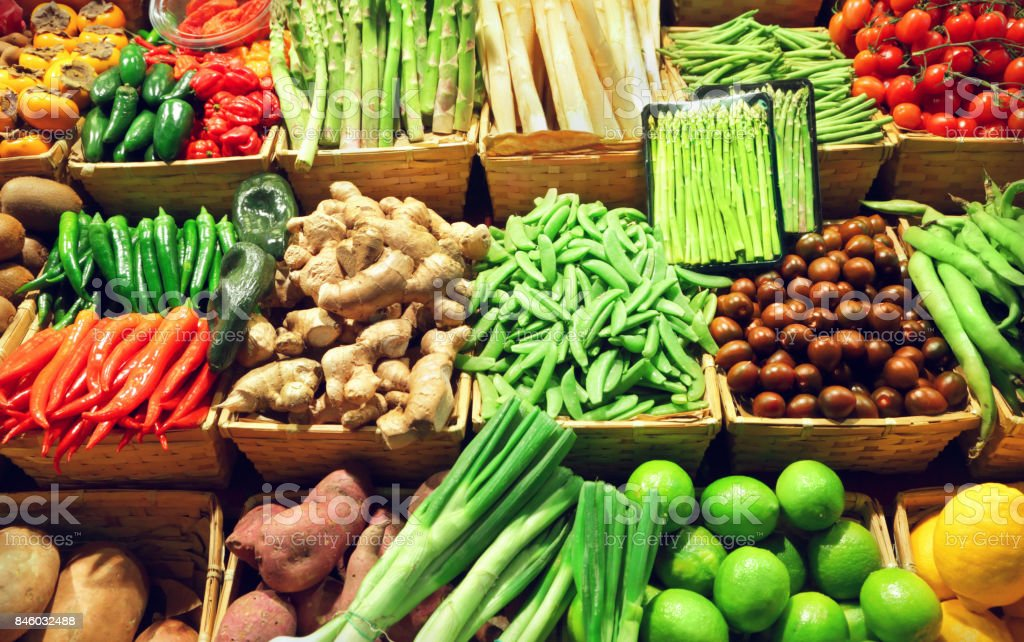 Vegetables at a market stock photo
