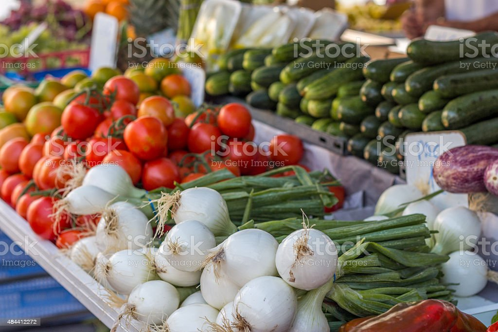Vegetables at street market (Guardamar del segura, Spain) stock photo