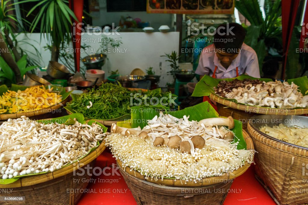 Vegetables at the walking street market in Chiang Mai, Thailand stock photo