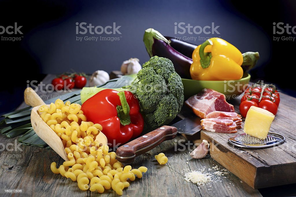 Vegetables, bacon and cheese for cooking pasta. royalty-free stock photo