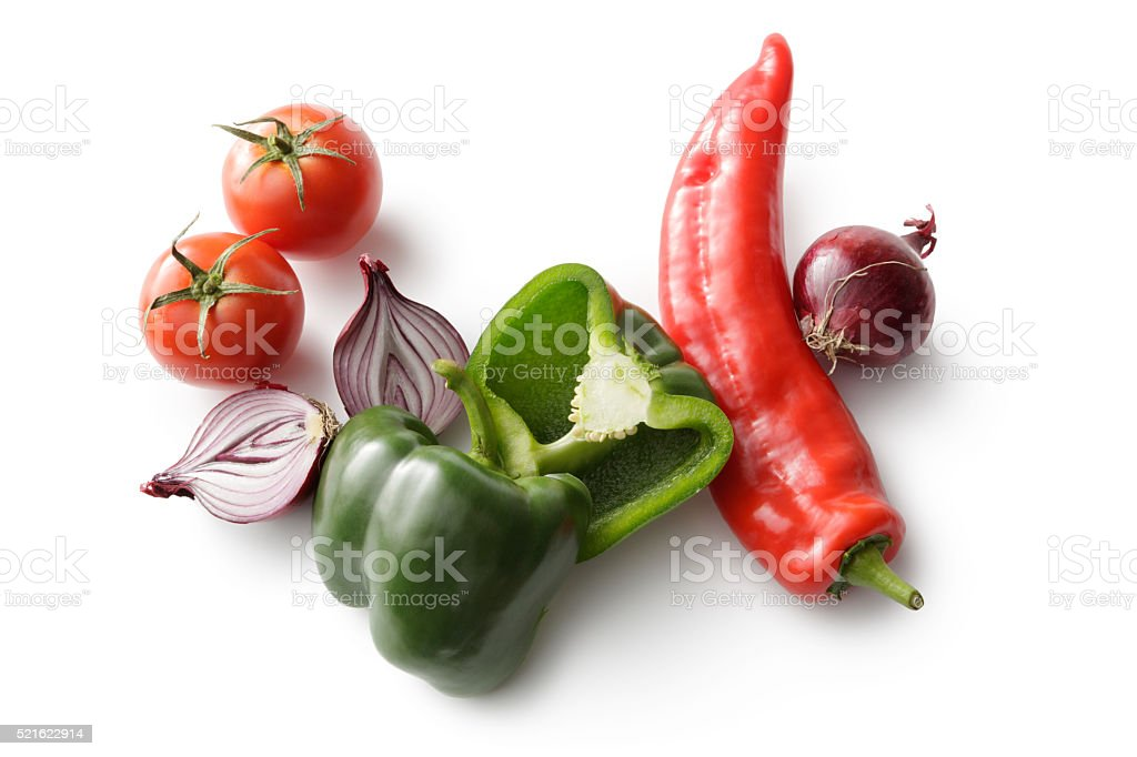 Vegetables: Bell Pepper, Tomato and Onion Isolated on White Background stock photo