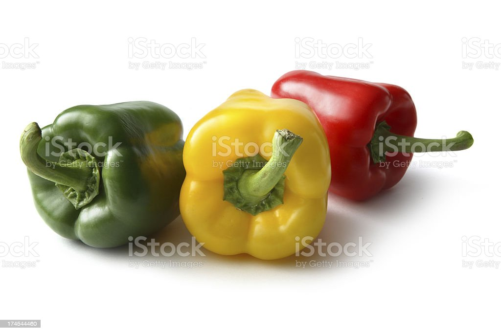 Vegetables: Bell Pepper Yellow, Red and Green royalty-free stock photo