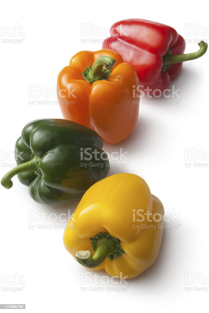 Vegetables: Bell Peppers Isolated on White Background royalty-free stock photo