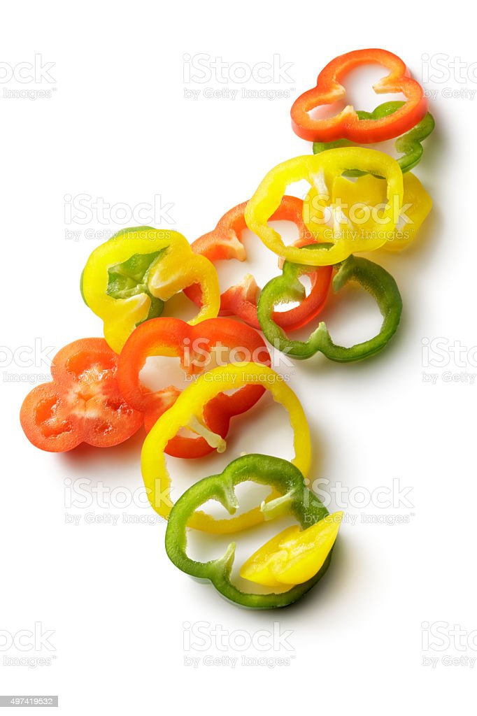 Vegetables: Bell Peppers Isolated on White Background stock photo