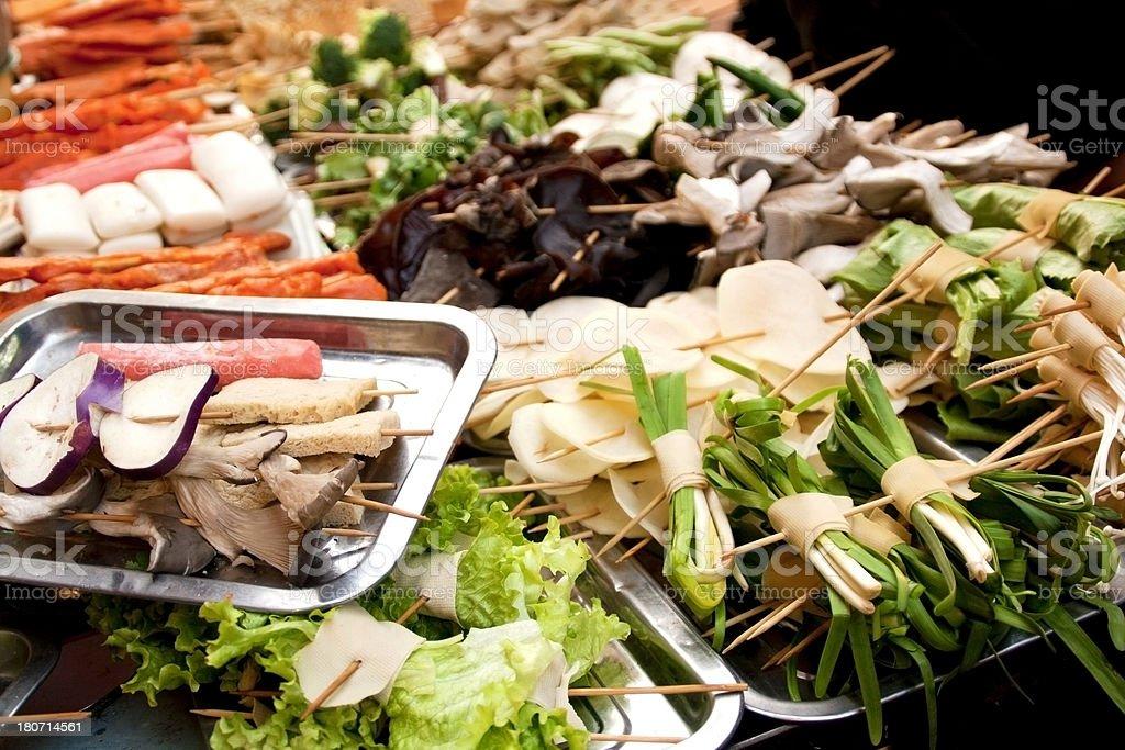 Vegetables brochettes stock photo