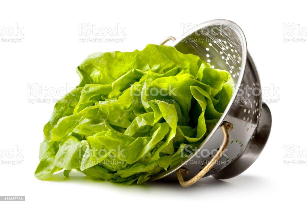 Vegetables: Butterhead Lettuce in Colander stock photo