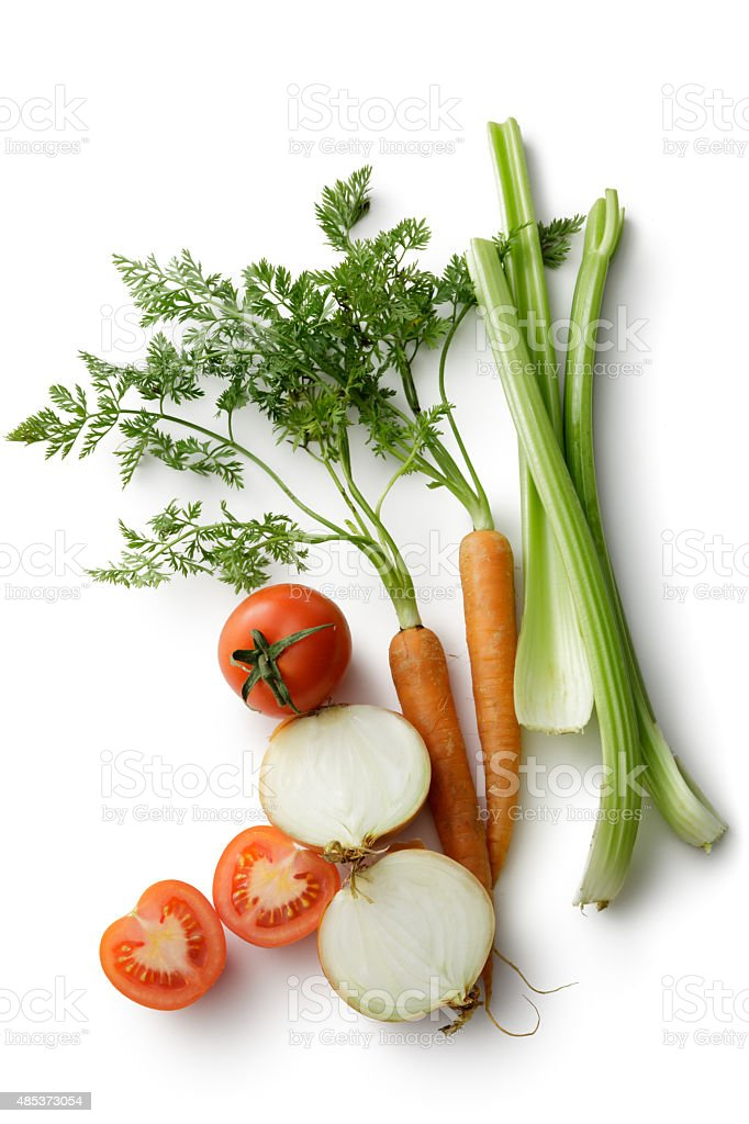 Vegetables: Carrot, Celery, Onion and Tomato Isolated on White Background stock photo