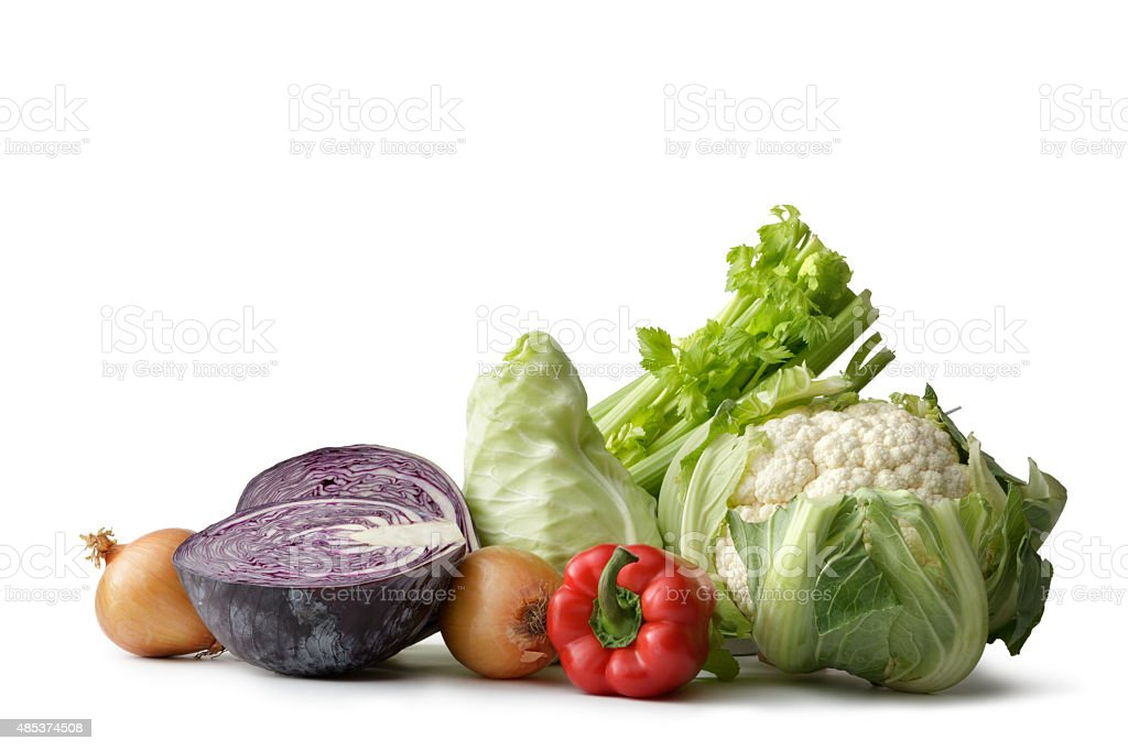 Vegetables: Cauliflower, Cabbage, Onion, Bell Pepper and Celery stock photo