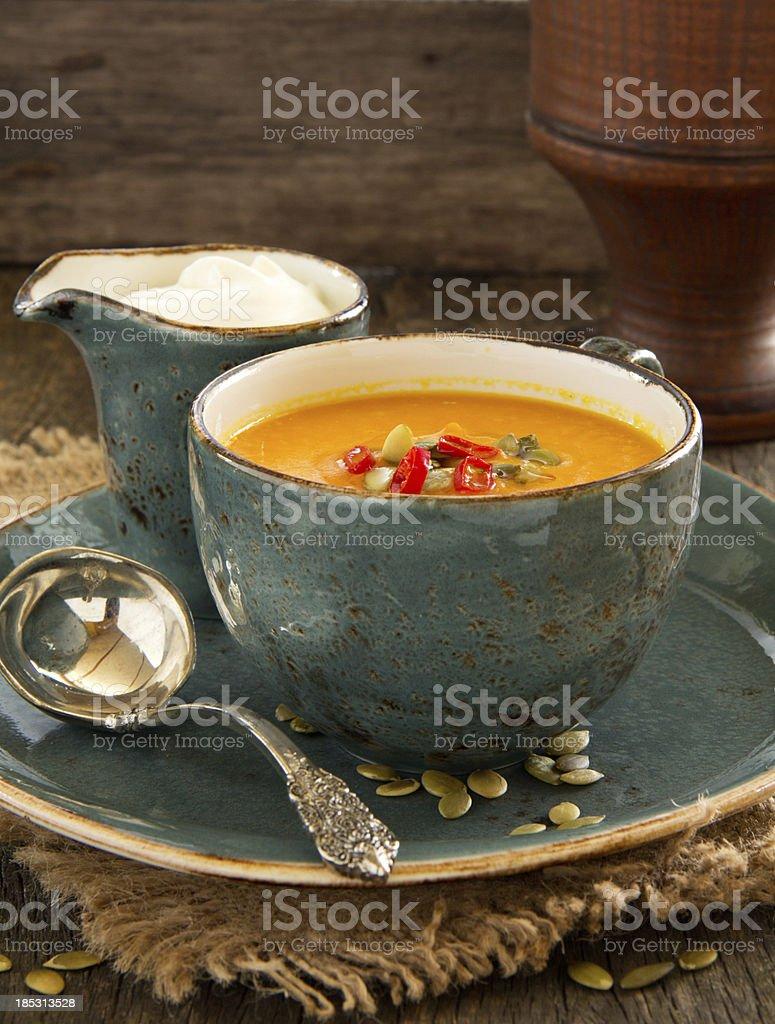 Vegetables (pumpkin, carrot) cream soup. royalty-free stock photo