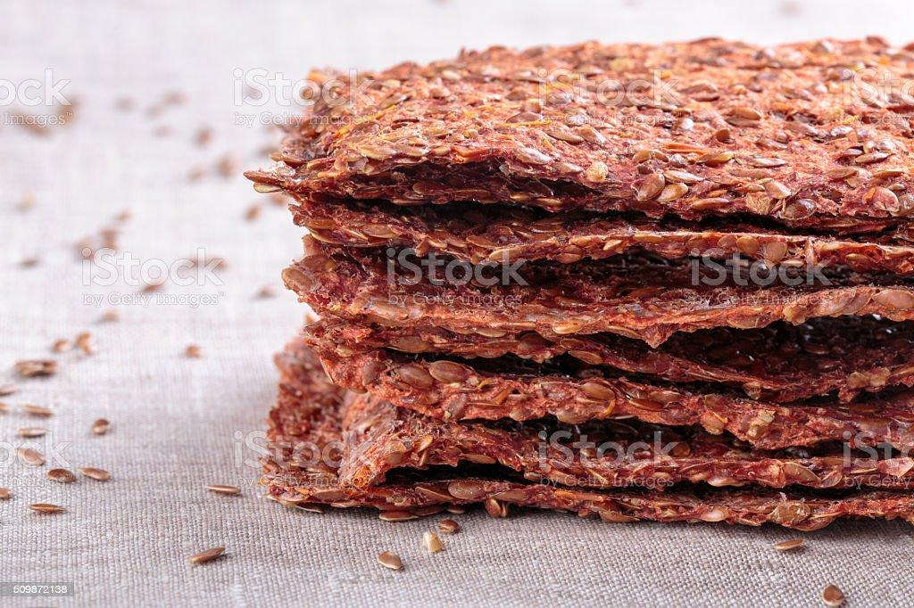 Vegetables crispbread crackers stock photo