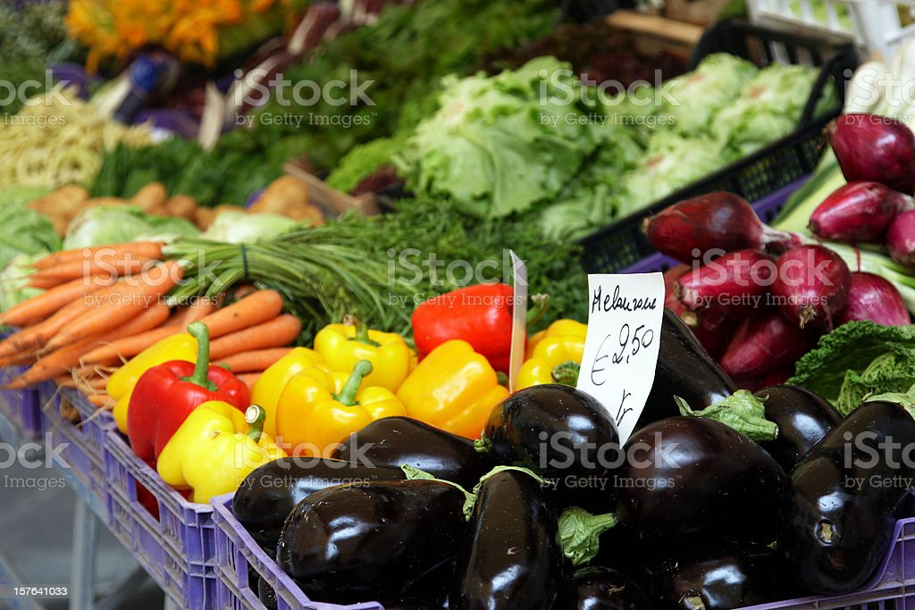 Vegetables for sale at open air market royalty-free stock photo
