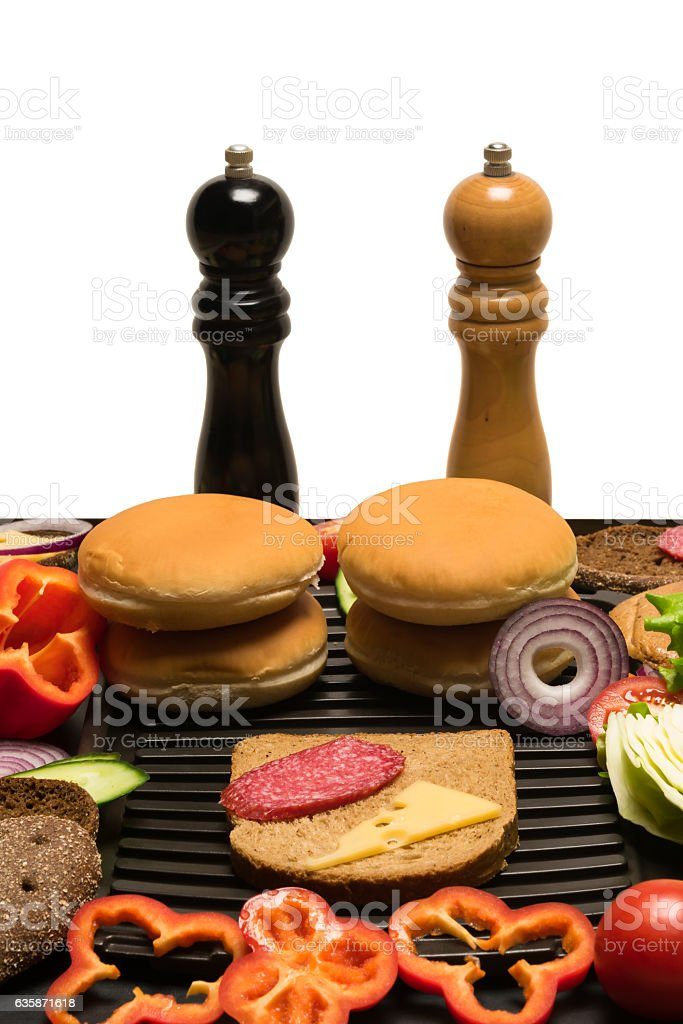 Vegetables for sandwiches, top place for an inscription stock photo