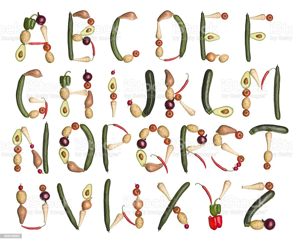 Vegetables forming the alphabet royalty-free stock photo