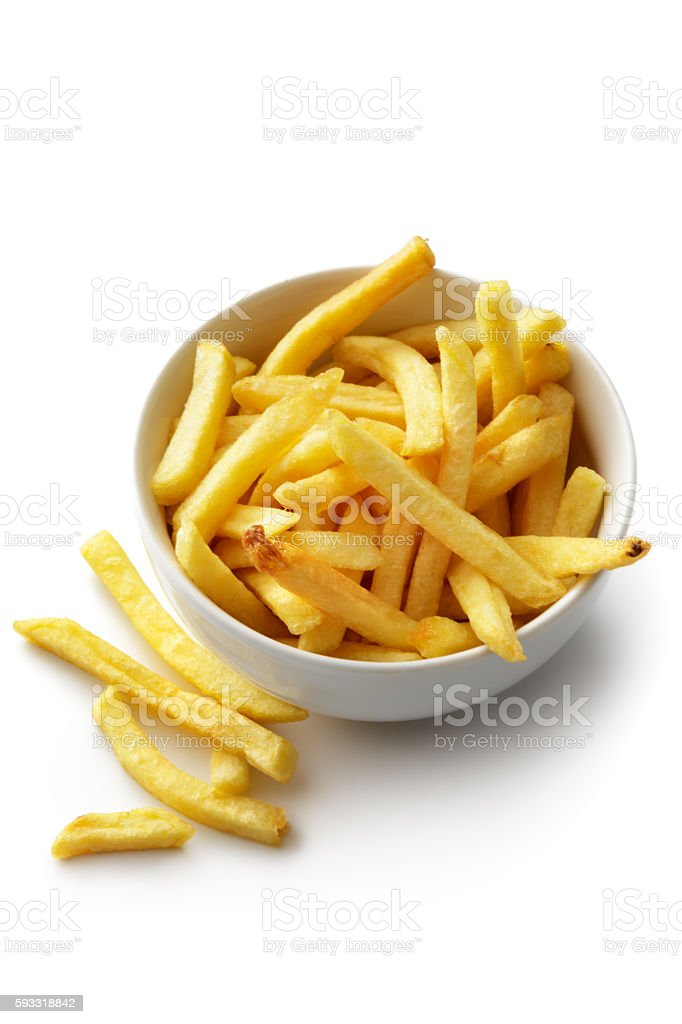 Vegetables: French Fries in a Bowl Isolated on White Background stock photo