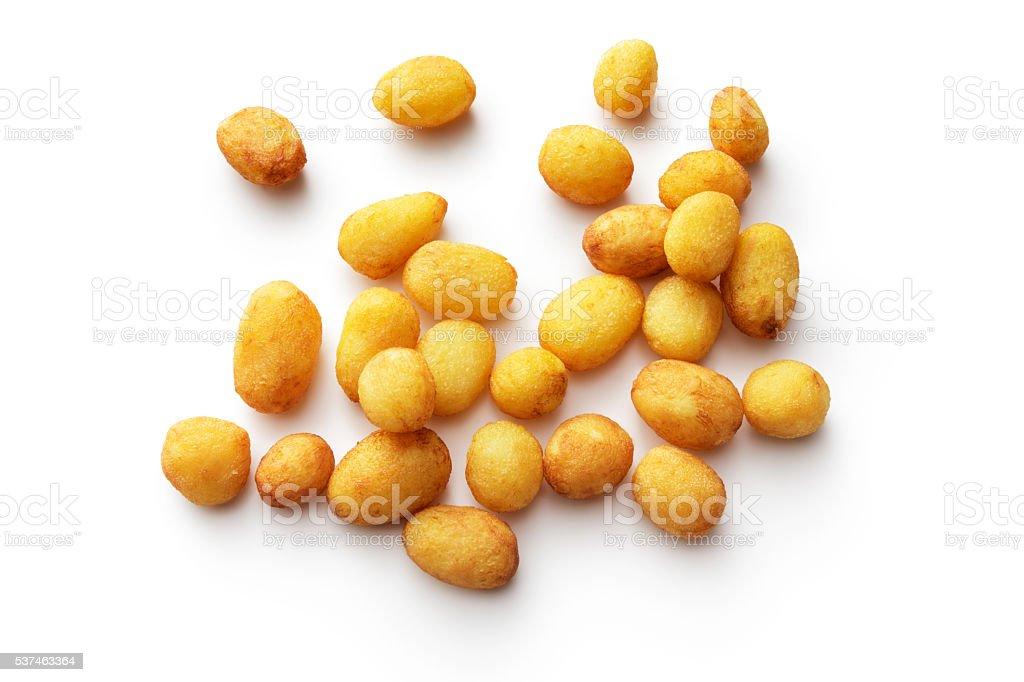 Vegetables: Fried Potato Isolated on White Background stock photo