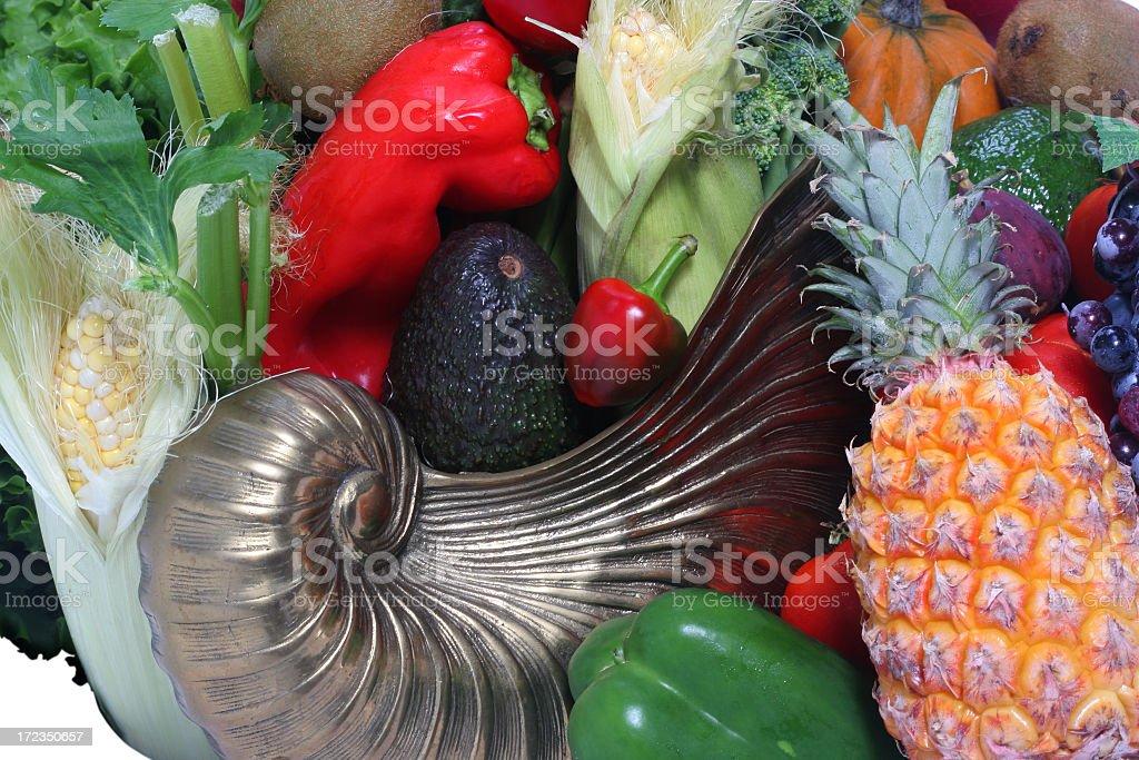 Vegetables, fruits and Cornucopia stock photo