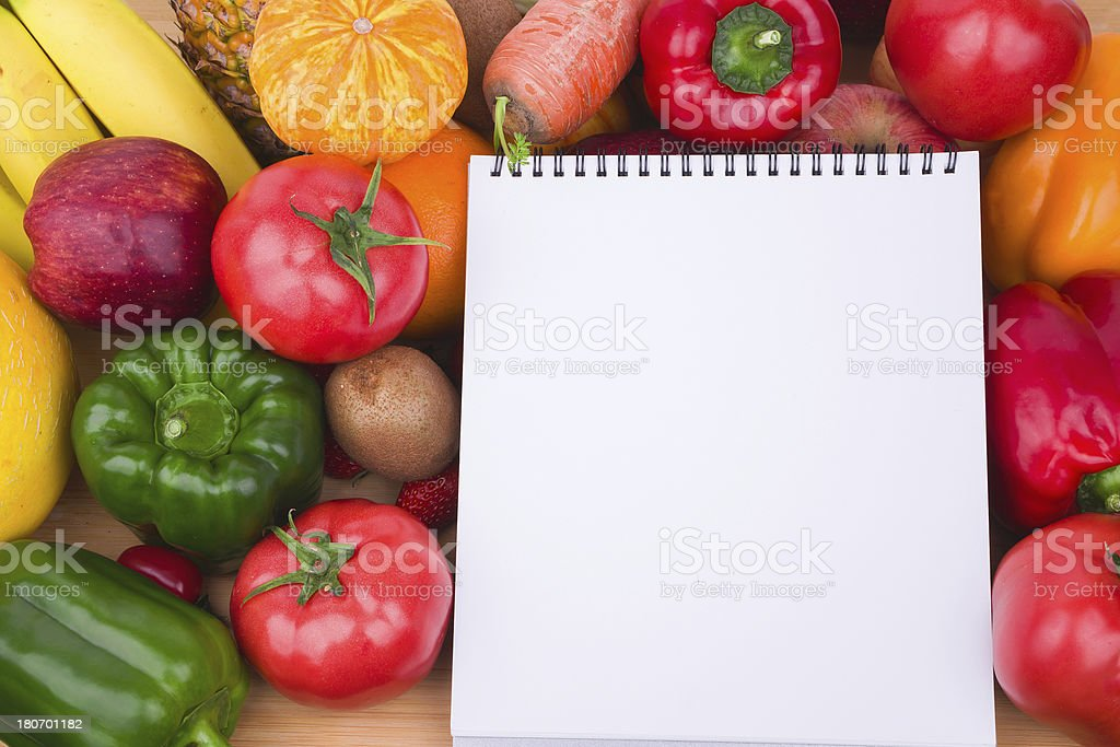 Vegetables fruits variety and blank note book royalty-free stock photo