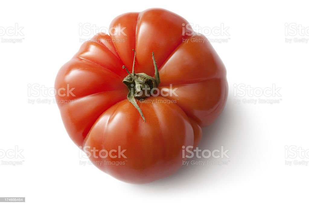 Vegetables: Heirloom Tomato Isolated on White Background royalty-free stock photo