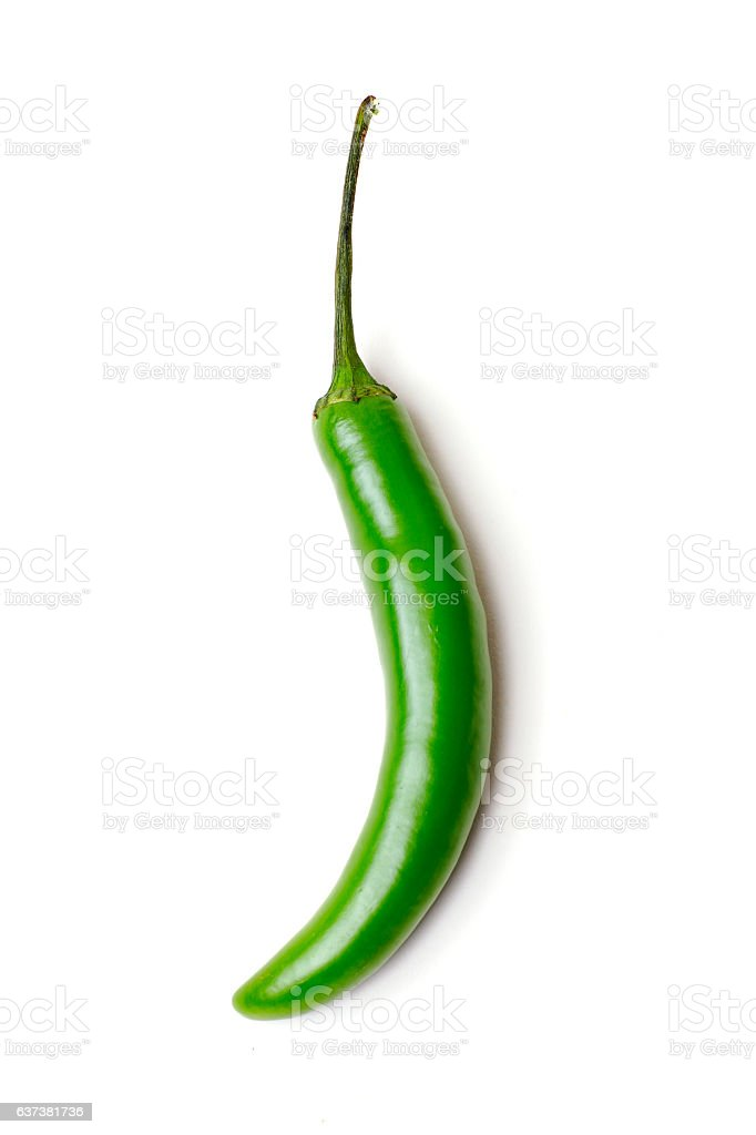 Vegetables - Hot Green Peppers Isolated on White stock photo